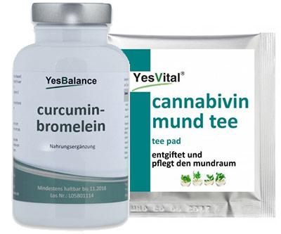 Curcumin-Brommelain Komplex und Canna-bi-vin Mund Tee